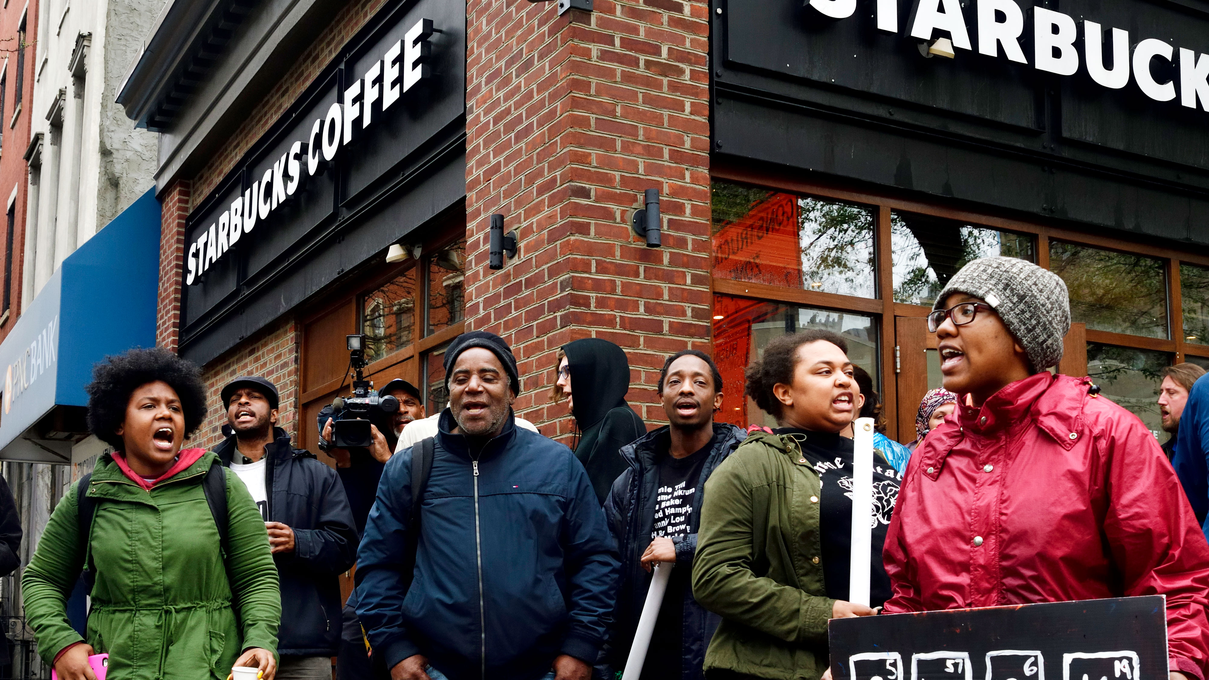 Ongoing Anti-Racism Protest at Starbucks in Philadelphia, PA