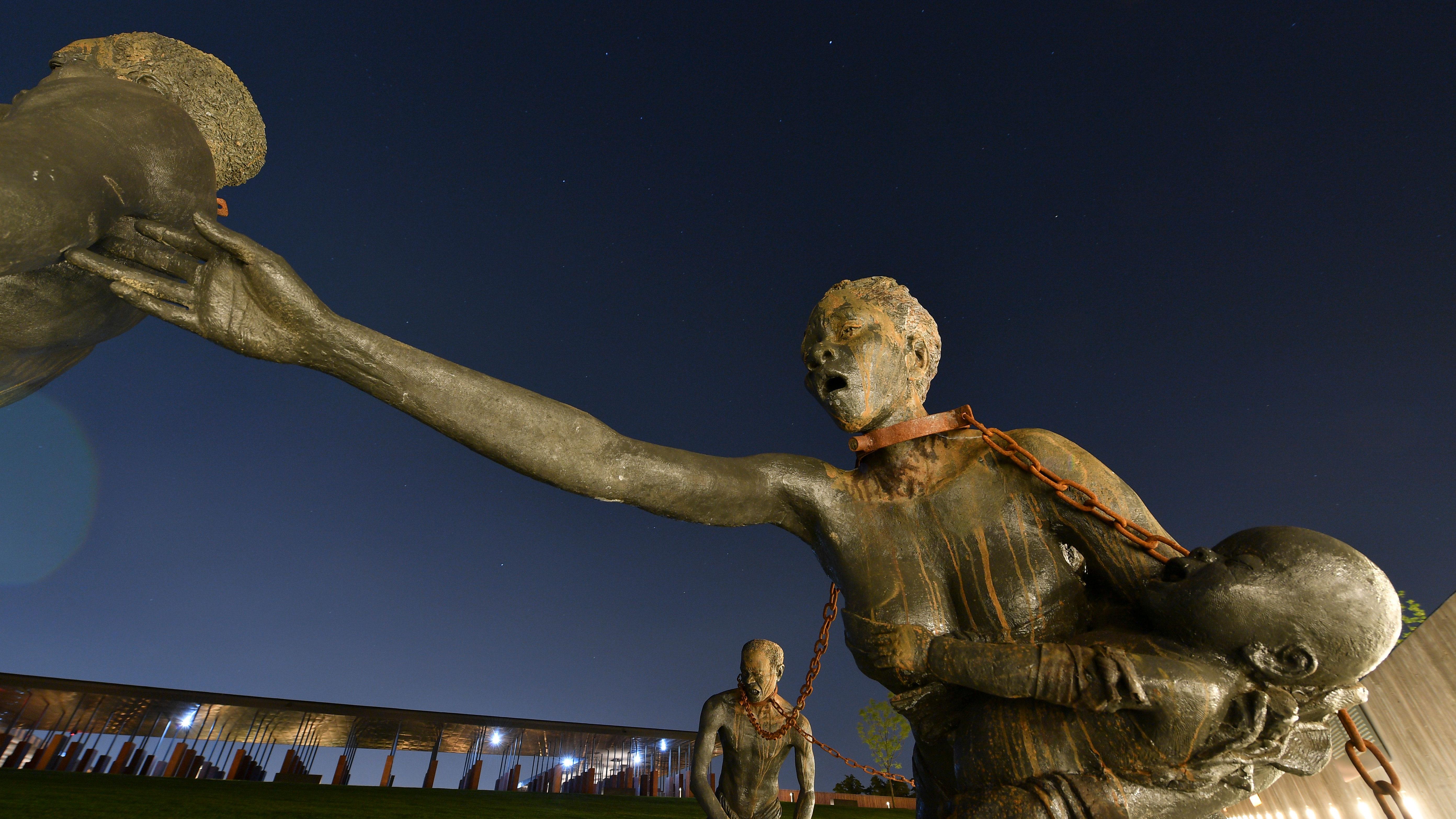 MONTGOMERY, AL – APRIL 20: A sculpture by artist Kwame Akoto-Ba