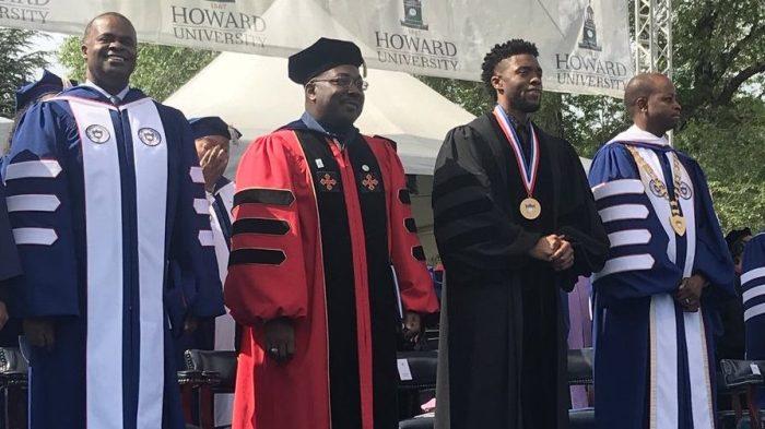 Chadwick Boseman at 2018 Howard University graduation