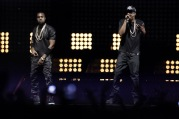 US rappers Kanye West and Jay-Z (R) perf