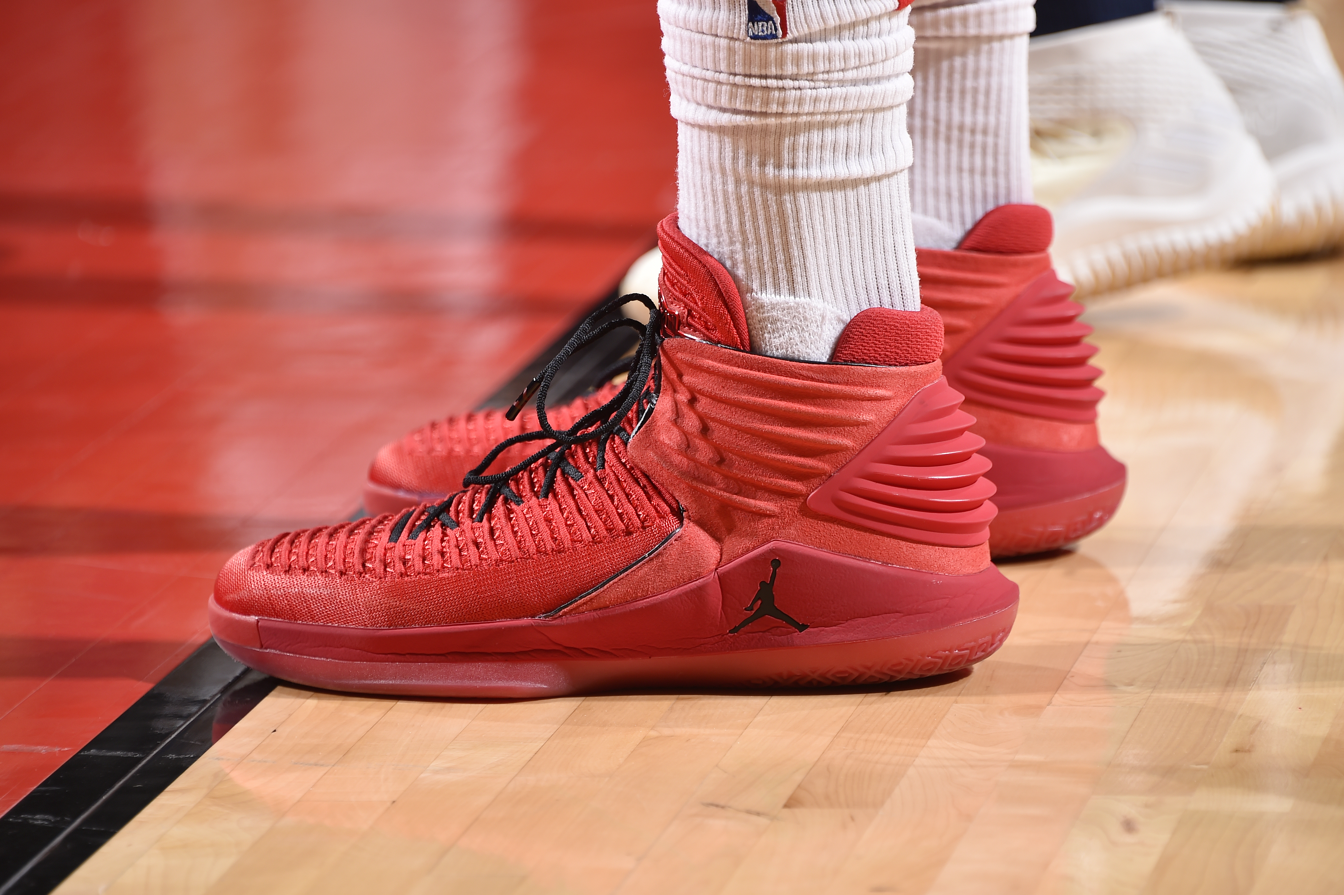 ddb735590d4d The sneakers of P.J. Tucker of the Houston Rockets during the second half  of Game 1 against the Minnesota Timberwolves in the first round of the 2018  NBA ...