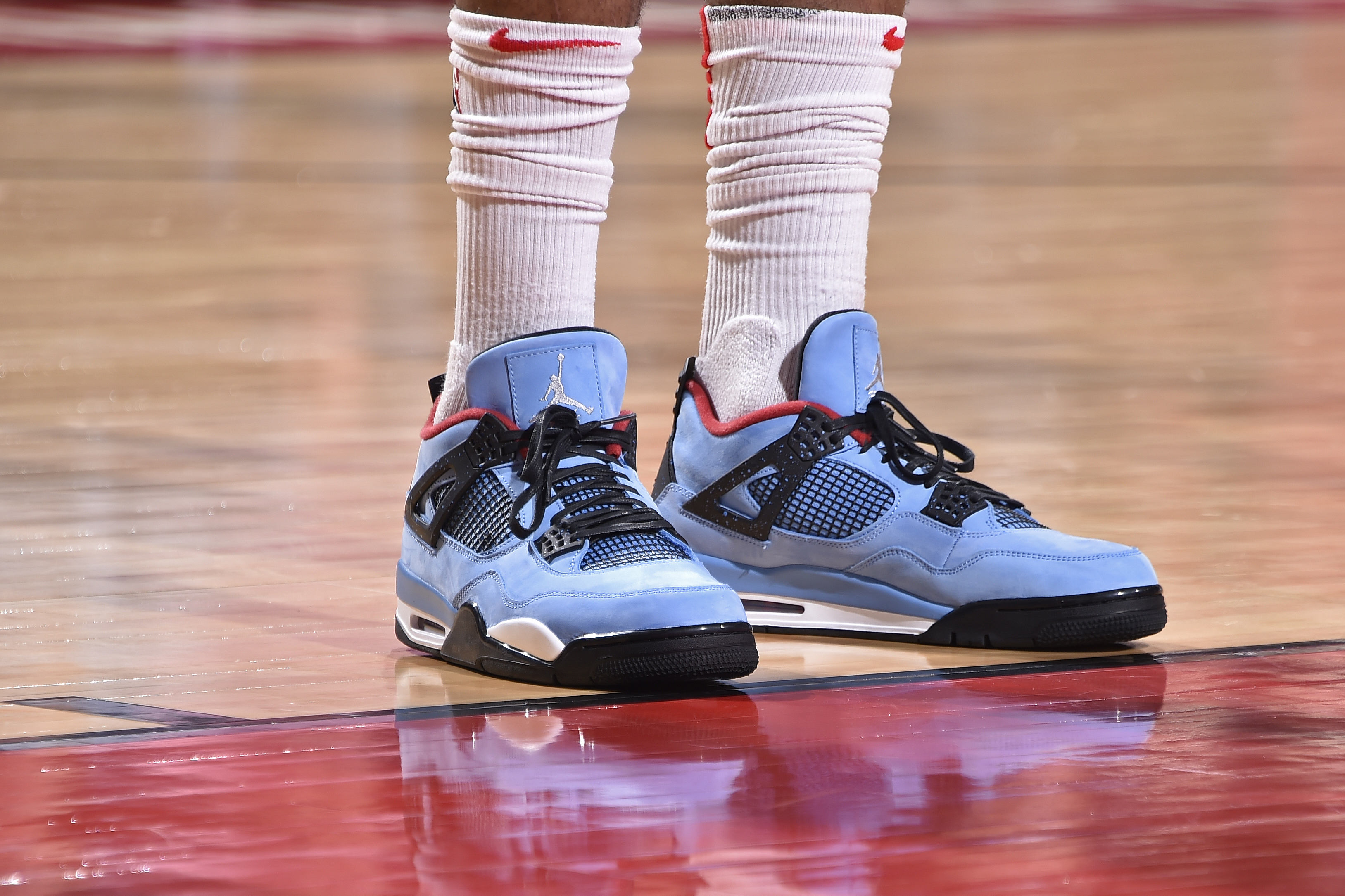 691ccab08ea6 The sneakers of P.J. Tucker of the Houston Rockets during the first half of  Game 2 against the Minnesota Timberwolves in the first round of the 2018  NBA ...
