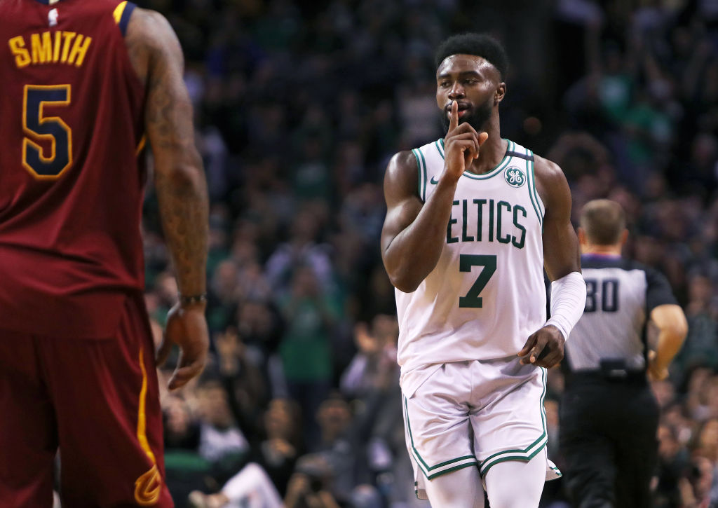 ad25bd11ae9 The Boston Celtics  Jaylen Brown (center) silenced J.R. Smith and the  Cleveland Cavaliers after he hit a second-quarter 3-pointer to put Boston  ahead 61-33.