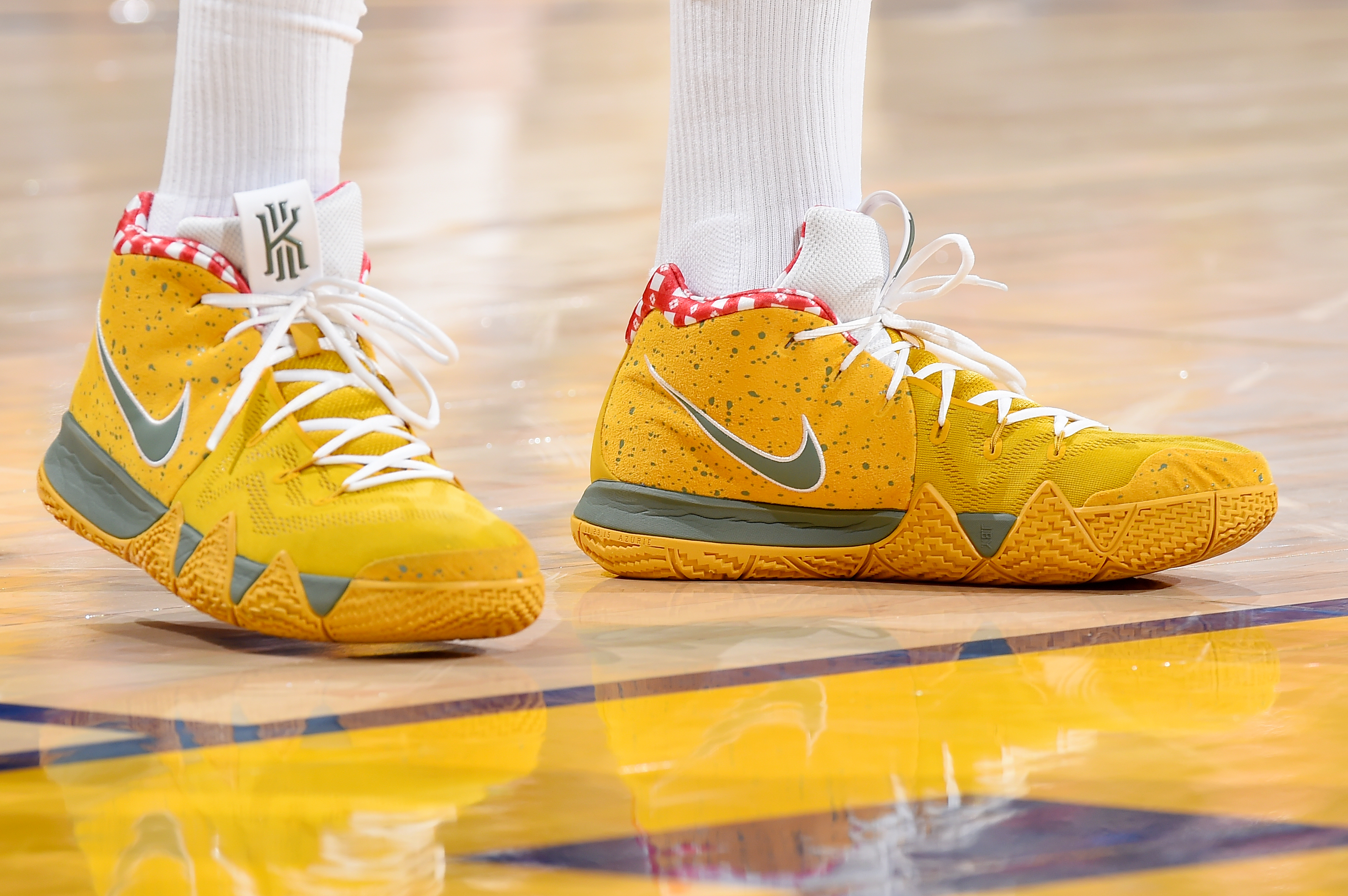 "watch e61d7 f658a Game 3, May 20  Nike Kyrie 4 ""Yellow Lobster"""