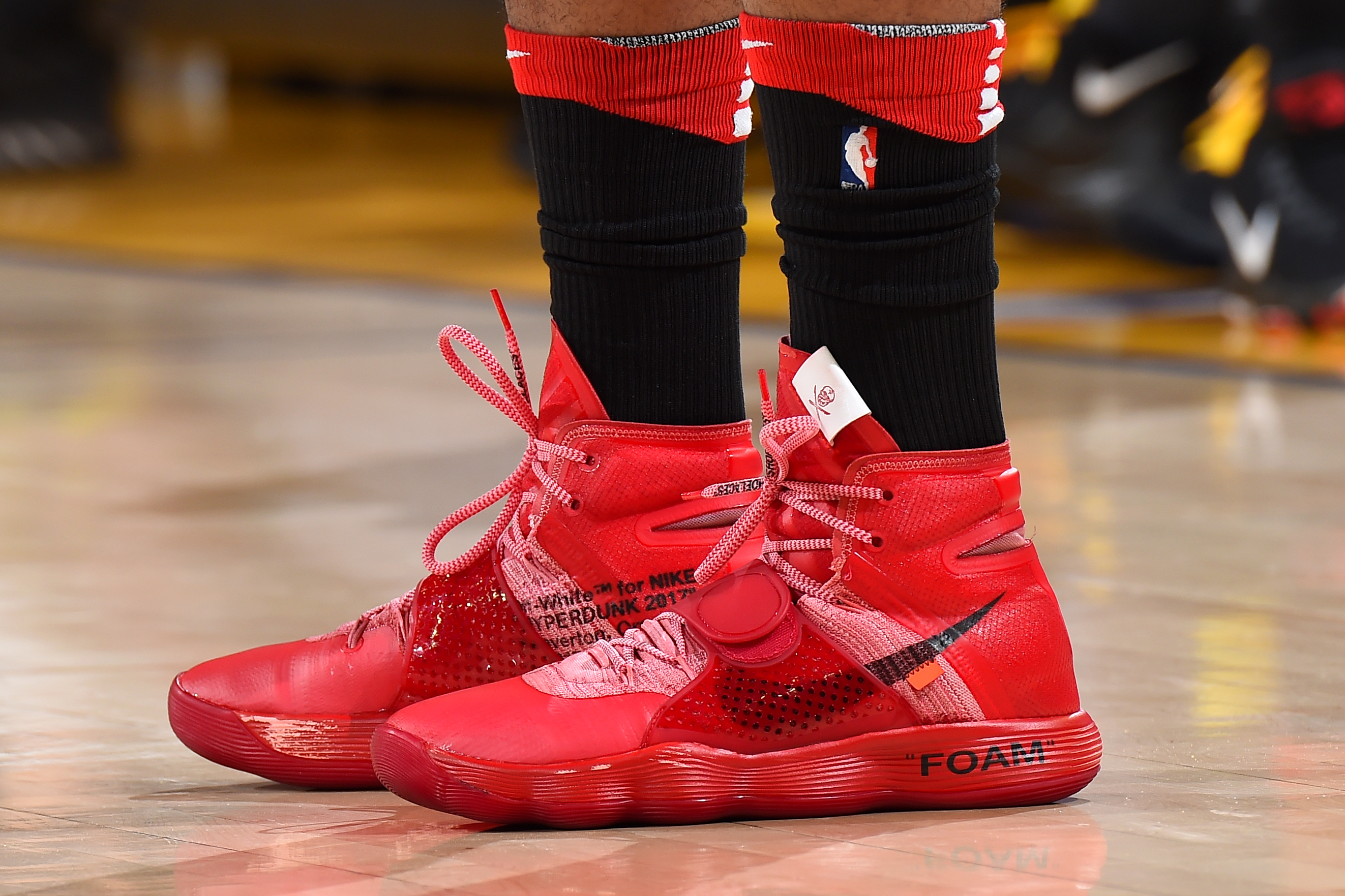 d6786906 The sneakers of P.J. Tucker of the Houston Rockets during Game 4 against  the Golden State Warriors in the Western Conference finals on May 22 at  Oracle ...