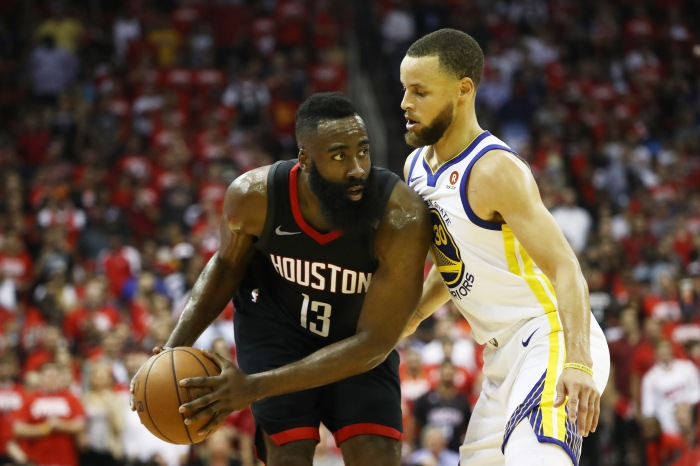 80f85b7aed81 James Harden (left) of the Houston Rockets drives against Stephen Curry of  the Golden State Warriors in the first half of Game 5 of the Western  Conference ...