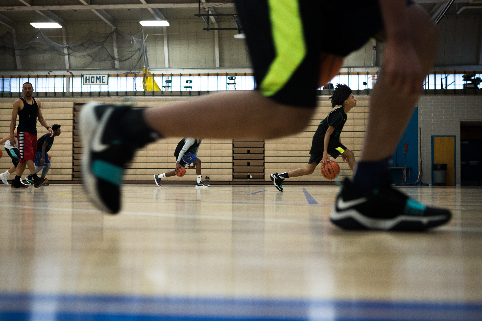 Montae Moore, 15, of the JV Jaguars, takes part in a dribbling drill during practice at Southwestern Academy on Feb. 21.