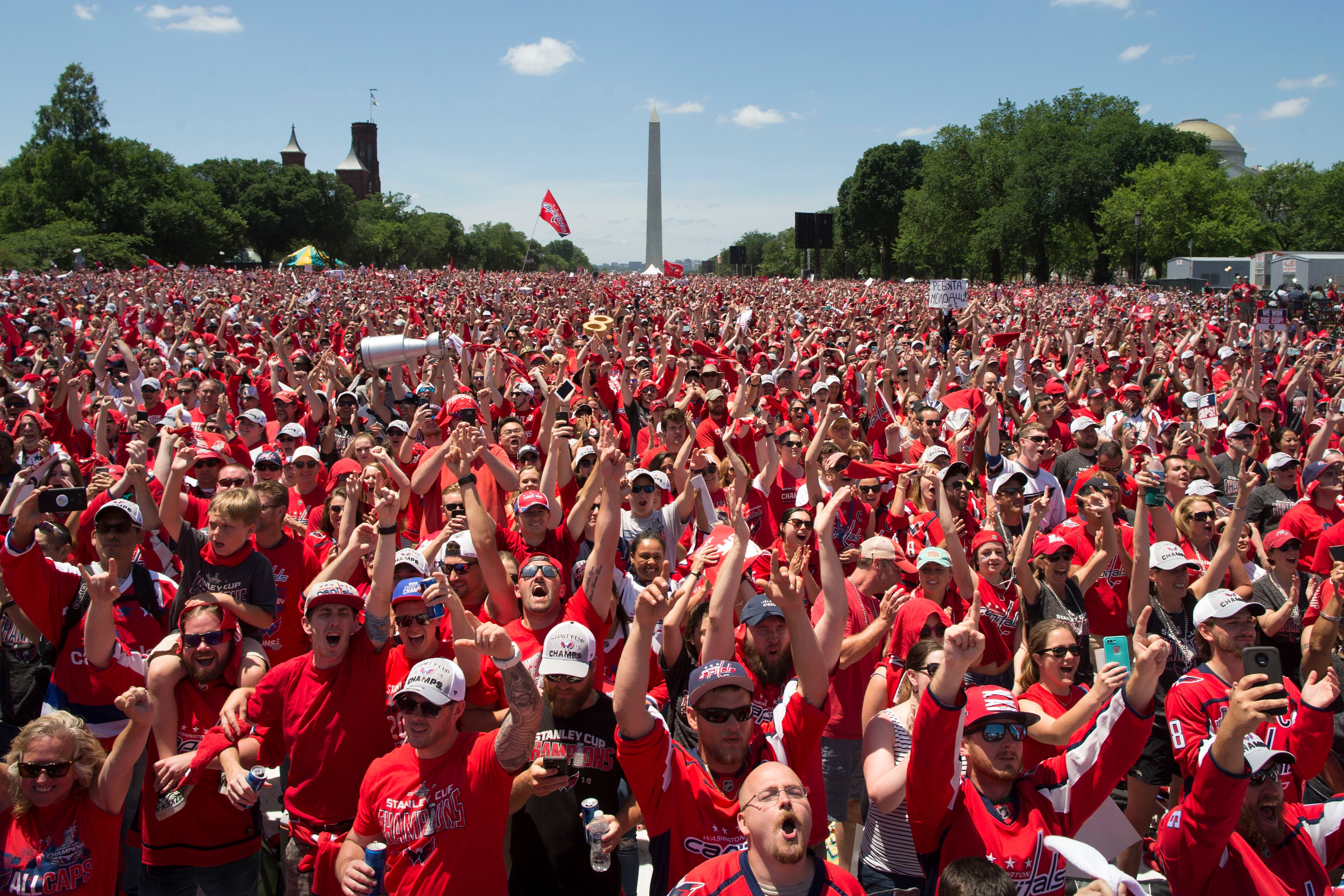 14a6f9f4b7b Thousands of fans cheer during a victory celebration for the 2018 Stanley  Cup champion Washington Capitals on the National Mall in Washington