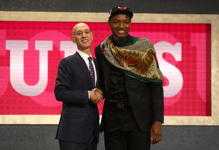 58cdf318f430 Wendell Carter Jr. (right) poses with NBA commissioner Adam Silver after  being drafted seventh overall by the Chicago Bulls during the 2018 NBA  draft at the ...