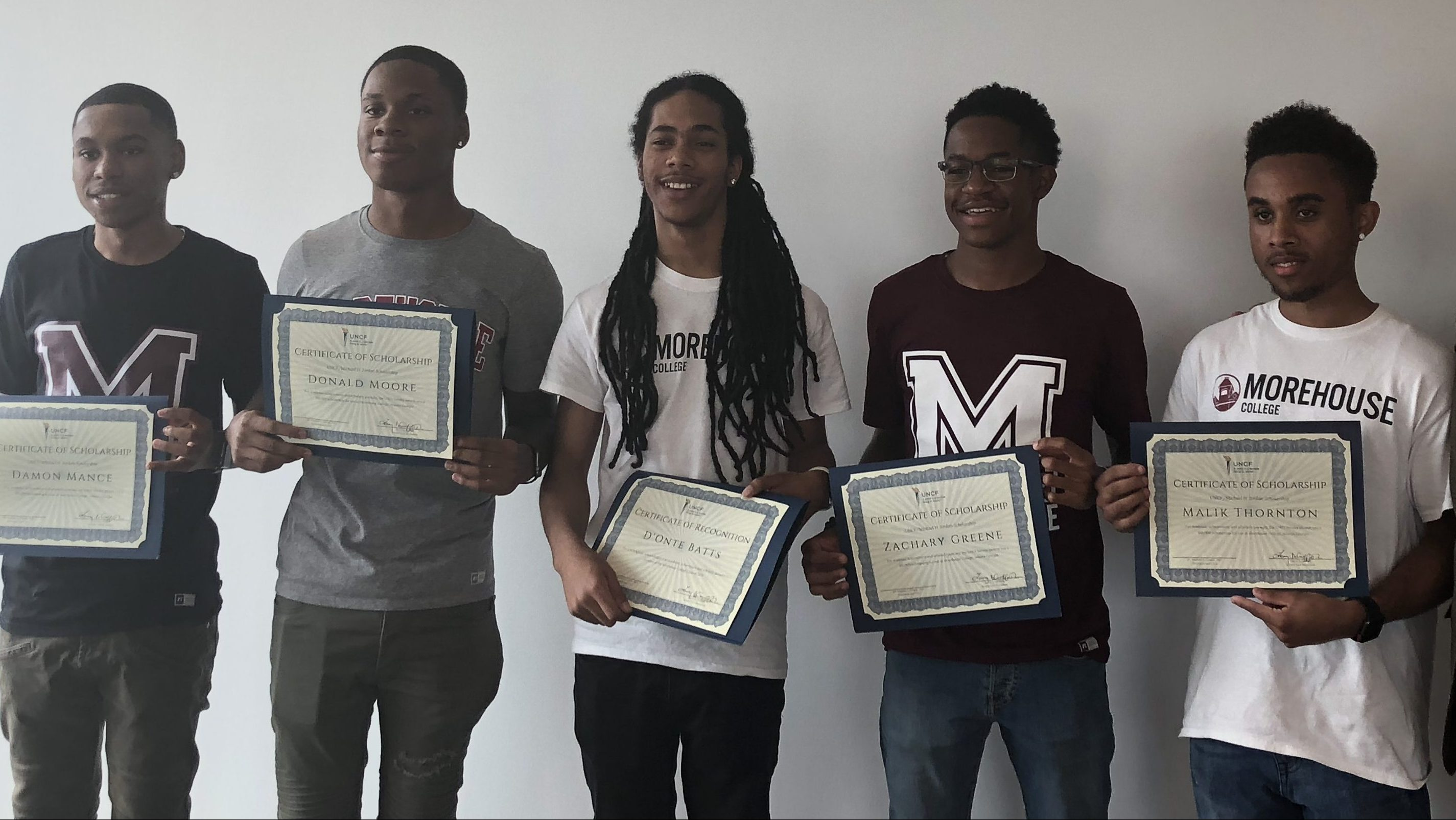 McKinley students who'll attend Morehouse College on scholarships from the United Negro College Fund