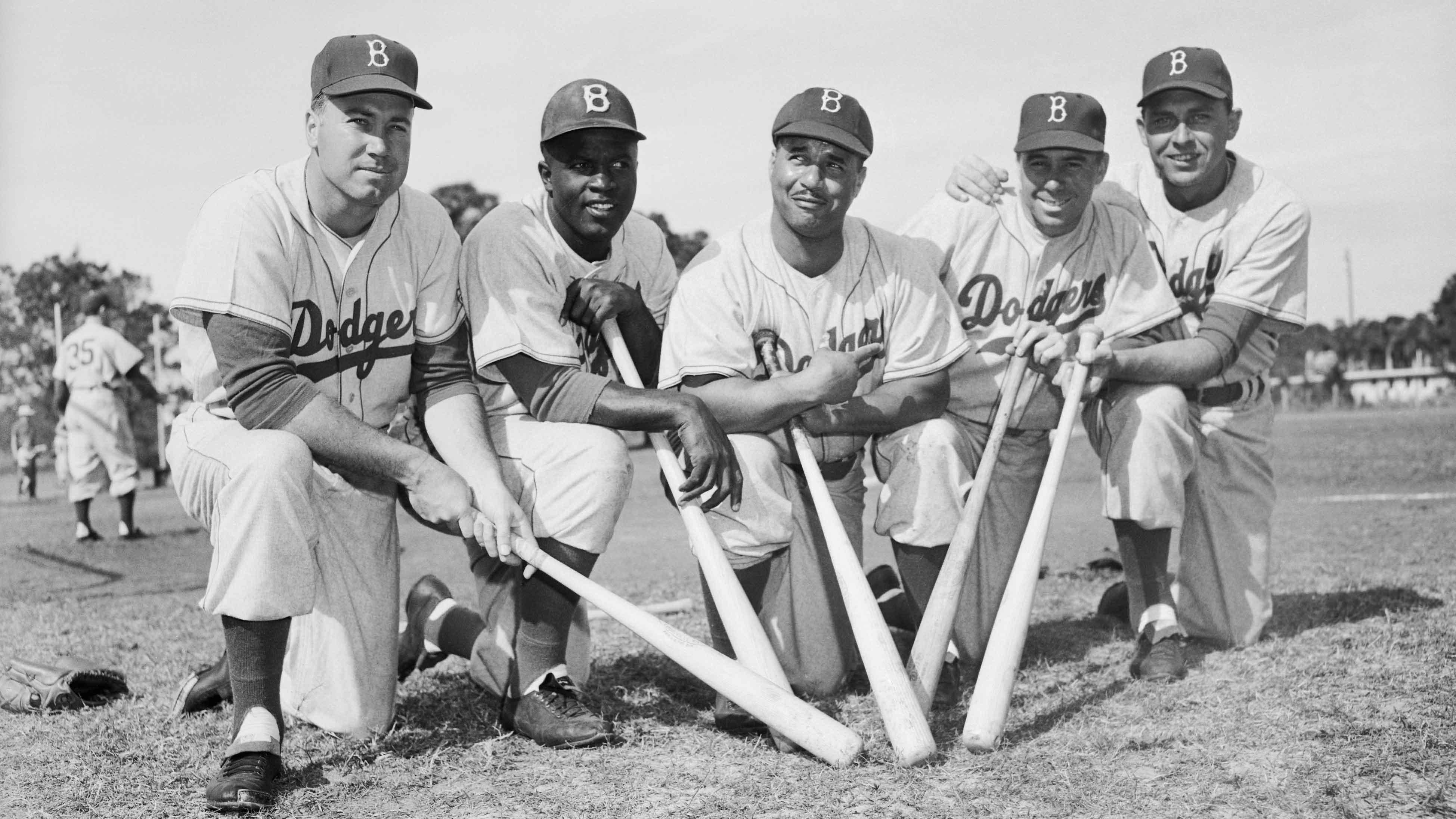 Dodgers Teammates Posing with Baseball Bats