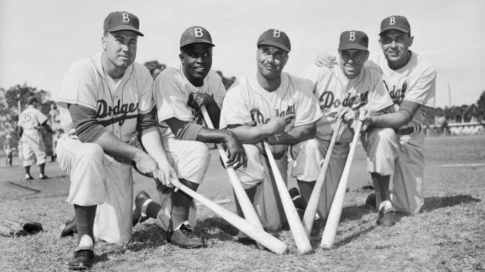 Dodgers Teammates Posing with Baseball Bats