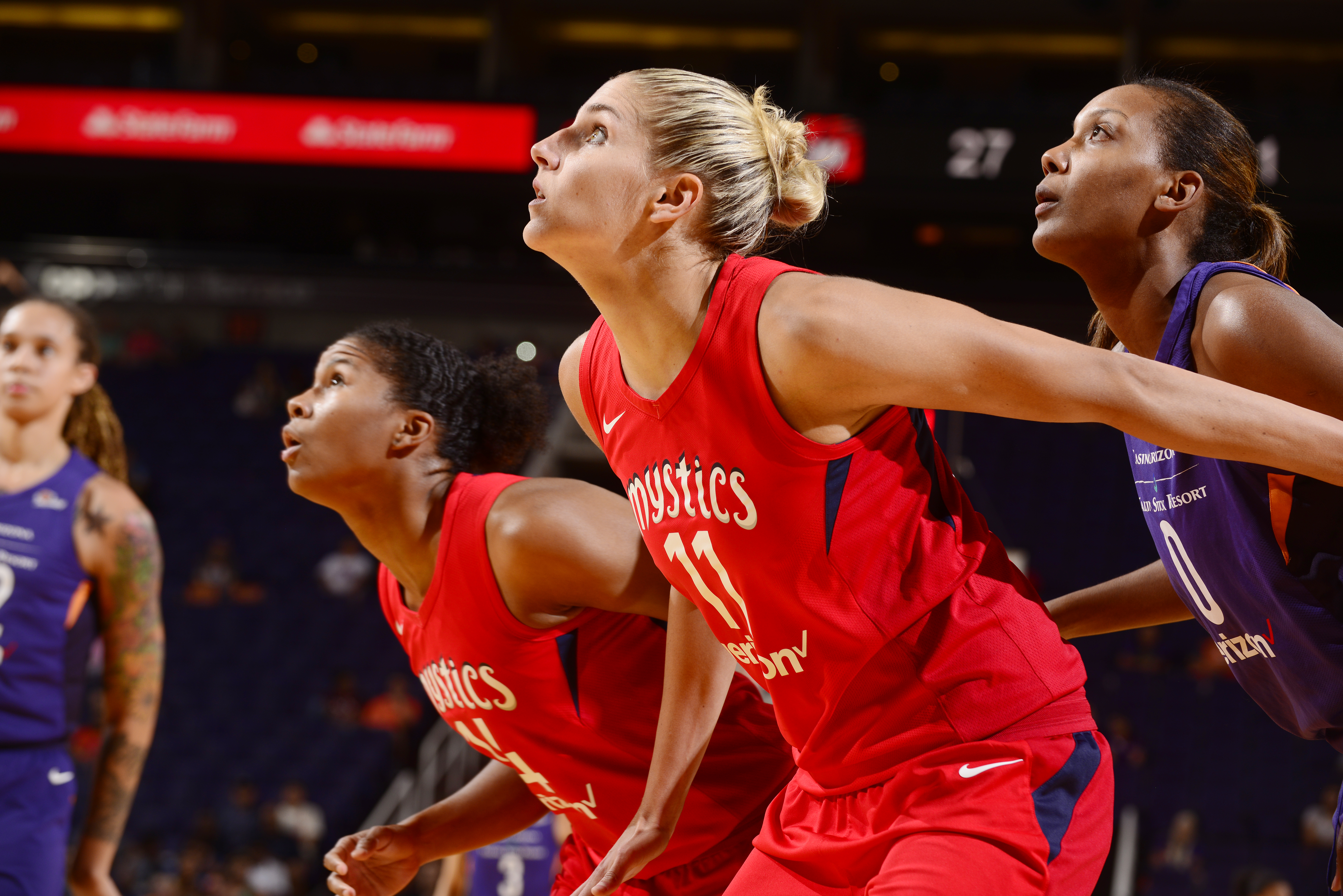 4ab8f9b763d 11) of the Washington Mystics gets into position for a rebound during a  game against the Phoenix Mercury on Aug. 7 at Talking Stick Resort Arena in  Phoenix.
