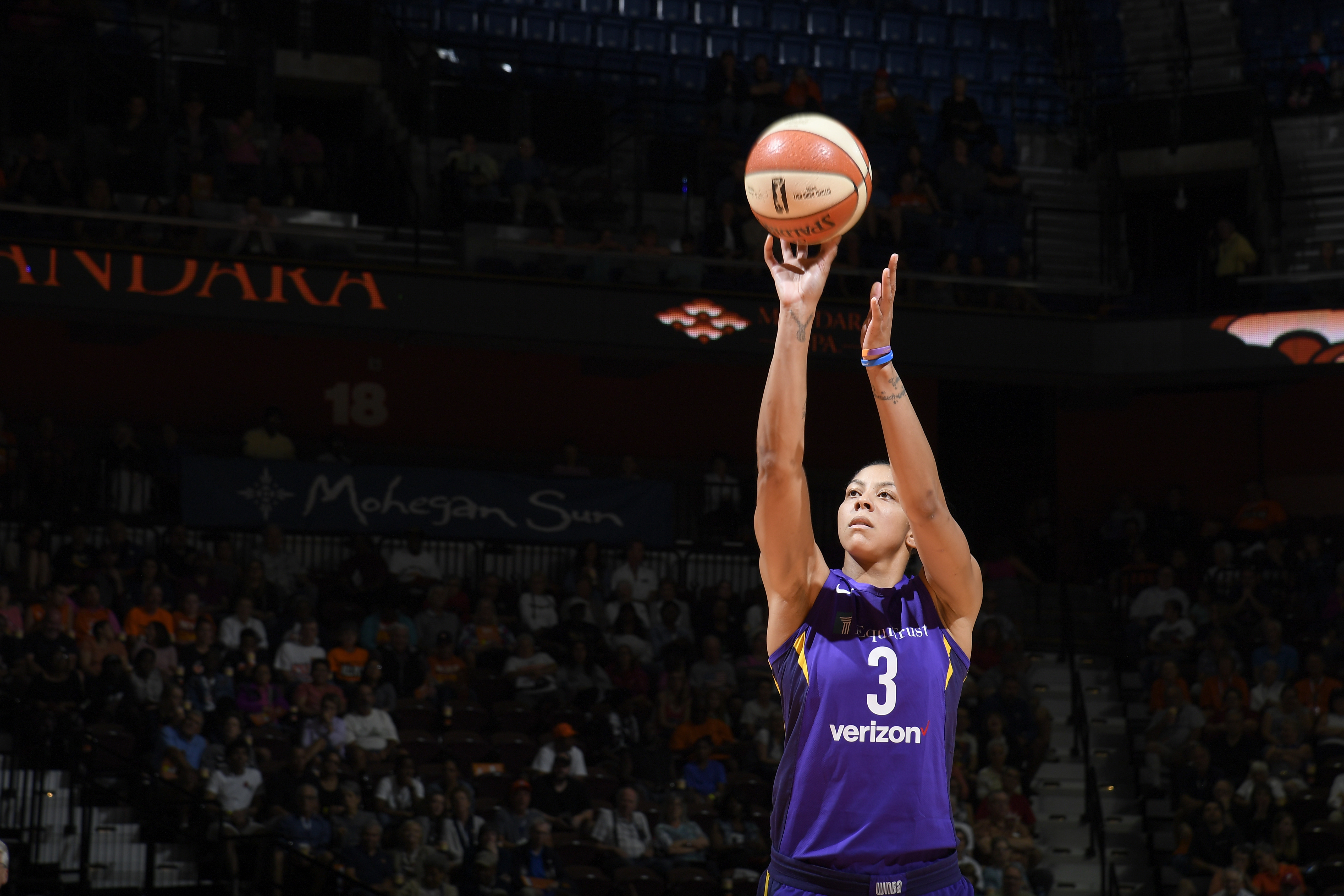 Candace Parker of the Los Angeles Sparks shoots the ball against the  Connecticut Sun on Aug. 19 at the Mohegan Sun Arena in Uncasville 39a87f09e