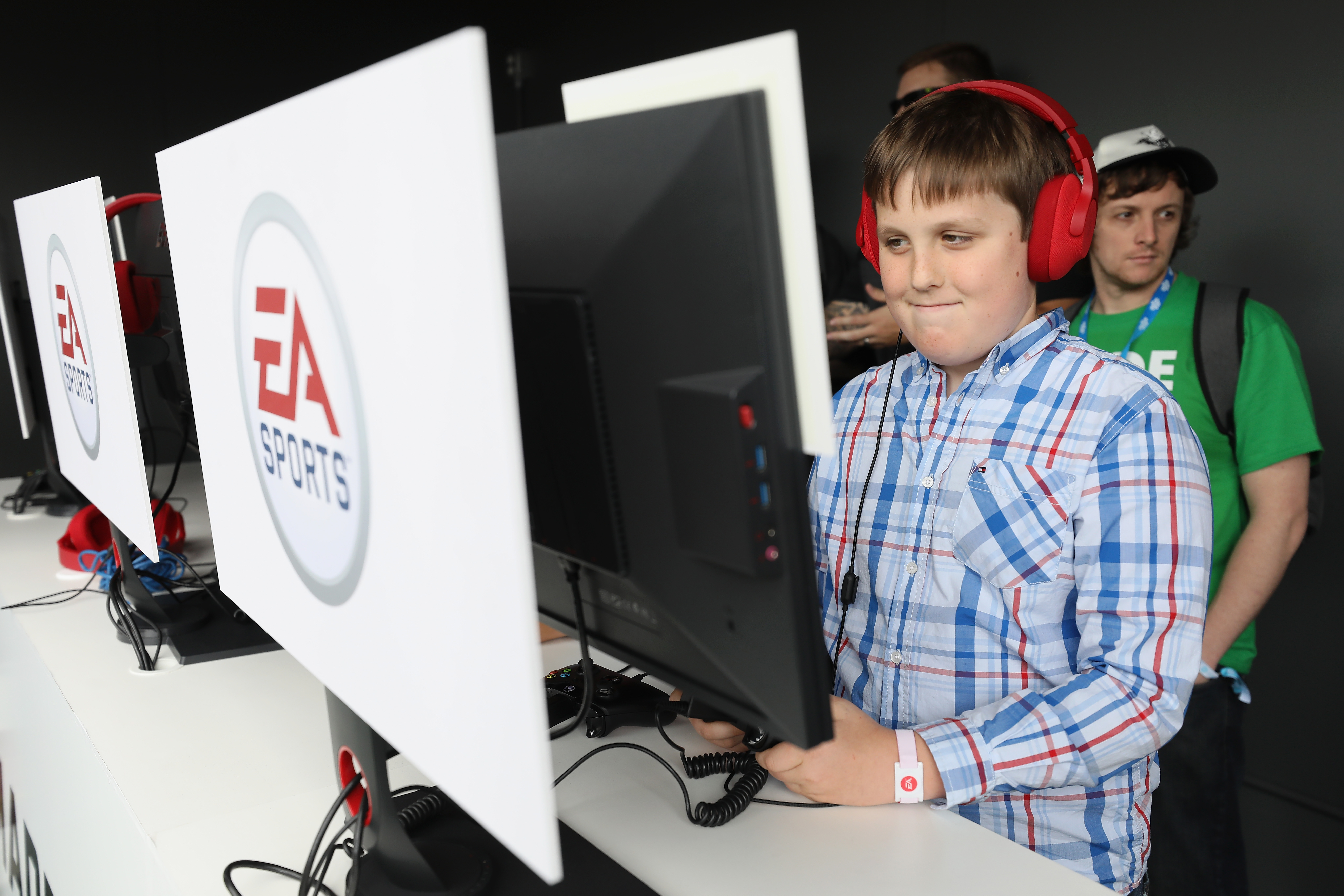 8b2032f0b Josh Cherniss of Los Angeles plays EA Sports Madden NFL 18 during the Electronic  Arts EA Play event at the Hollywood Palladium on June 10