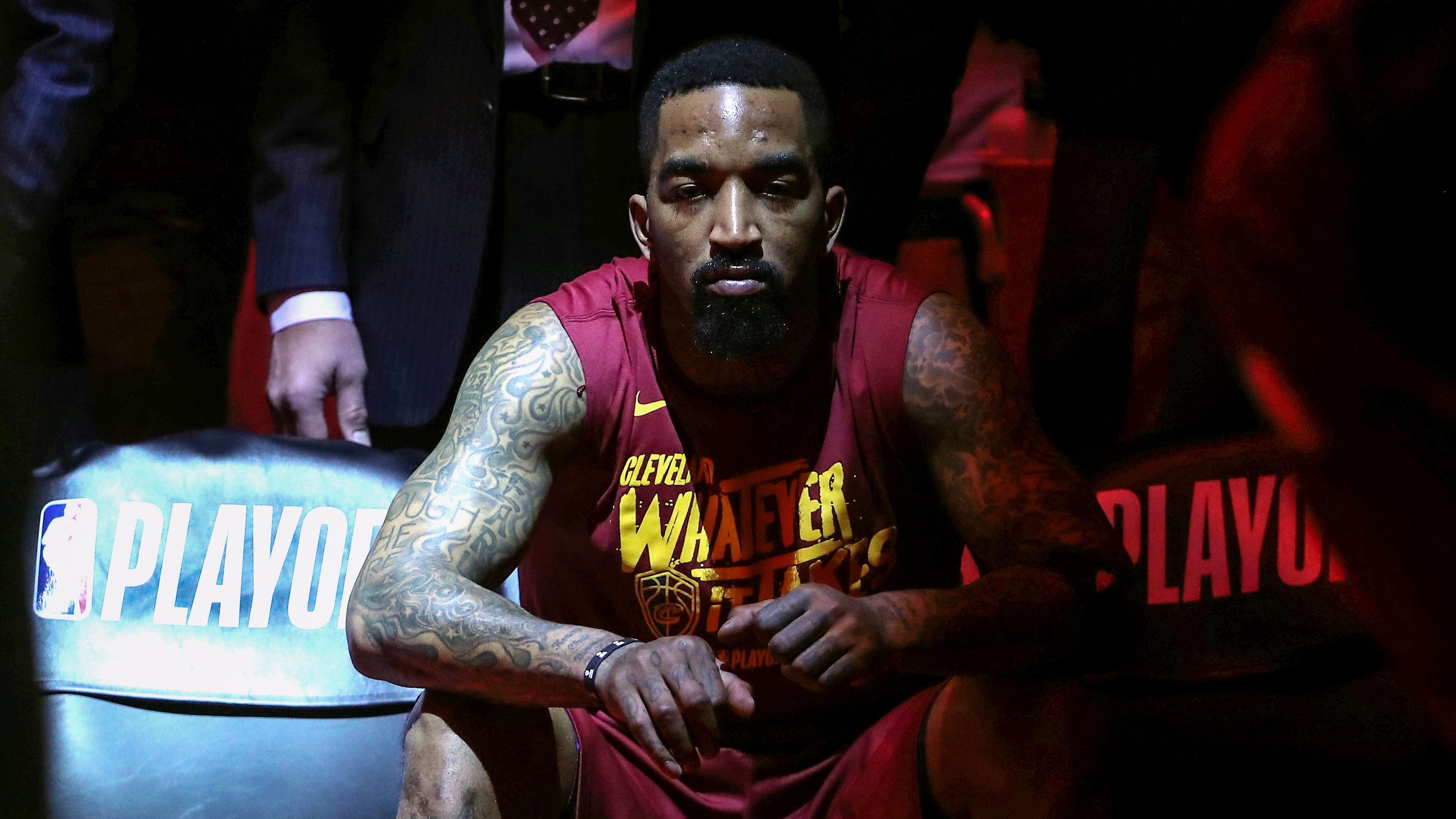 bf9254dfbc13 J.R. Smith waits on the bench before the start of the Cavs  game against  the Toronto Raptors in the second round of the 2018 NBA playoffs at Air  Canada ...