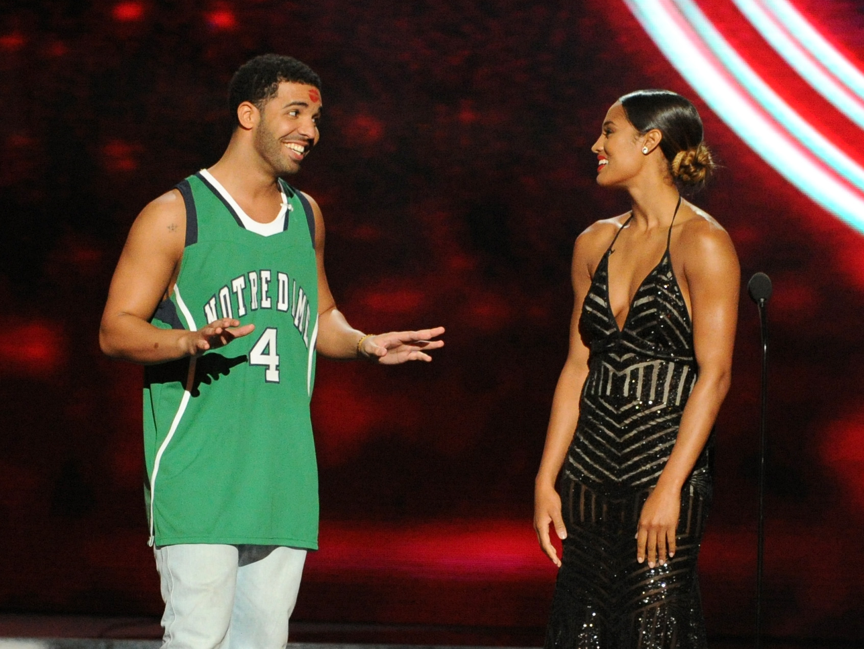 394c661931ea Host Drake (left) and Skylar Diggins speak onstage at the 2014 ESPYS at  Nokia Theatre L.A. Live on July 16
