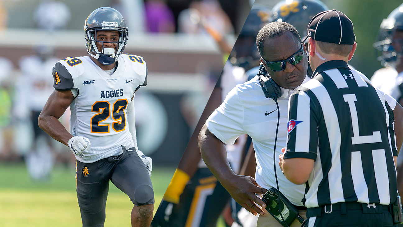NCA&T Franklin McCain and head coach Sam Washington in 2018 game vs. East Carolina