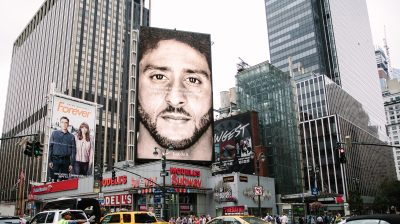 Nike campaign featuring Colin Kaepernick ad in New York