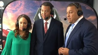 SWAC Commissioner Charles McClellan with ESPN's Tiffany Greene and Jay Walker