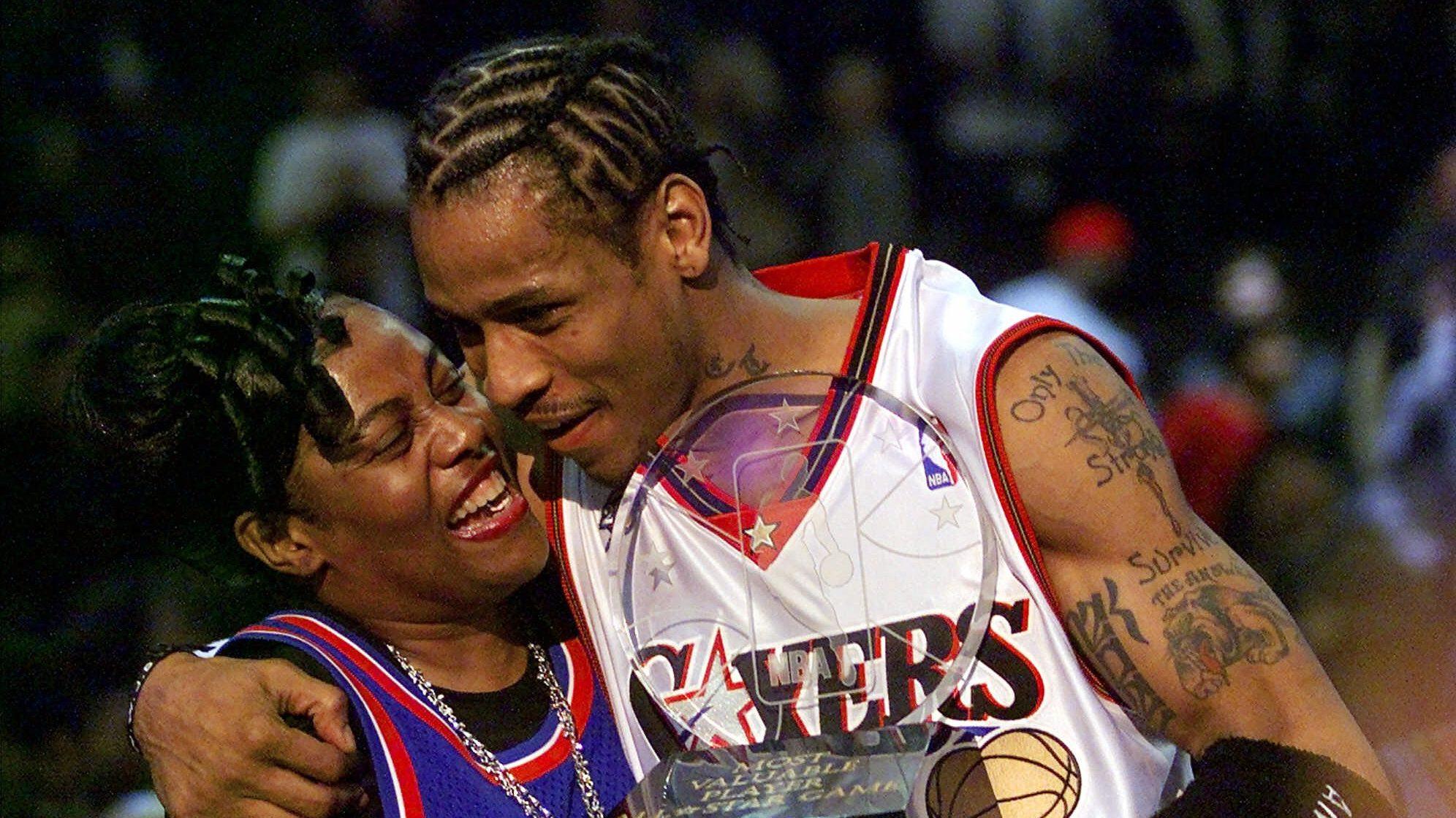 All-Star Game MVP Allen Iverson of the Philadelphia 76ers hugs his mother 58155f30b