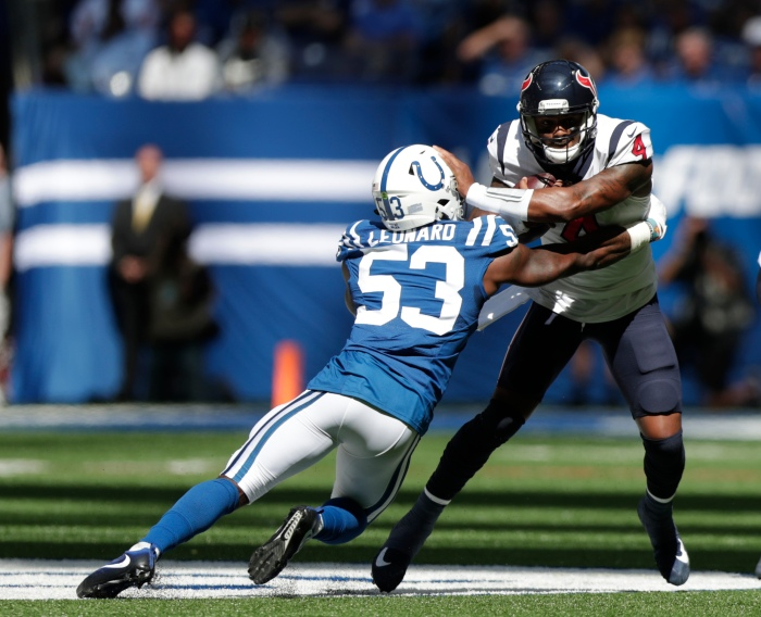 68ac18047541 ... by Indianapolis Colts  Darius Leonard (left) during the first half of  an NFL football game Sept. 30 in Indianapolis. Michael Conroy Associated  Press