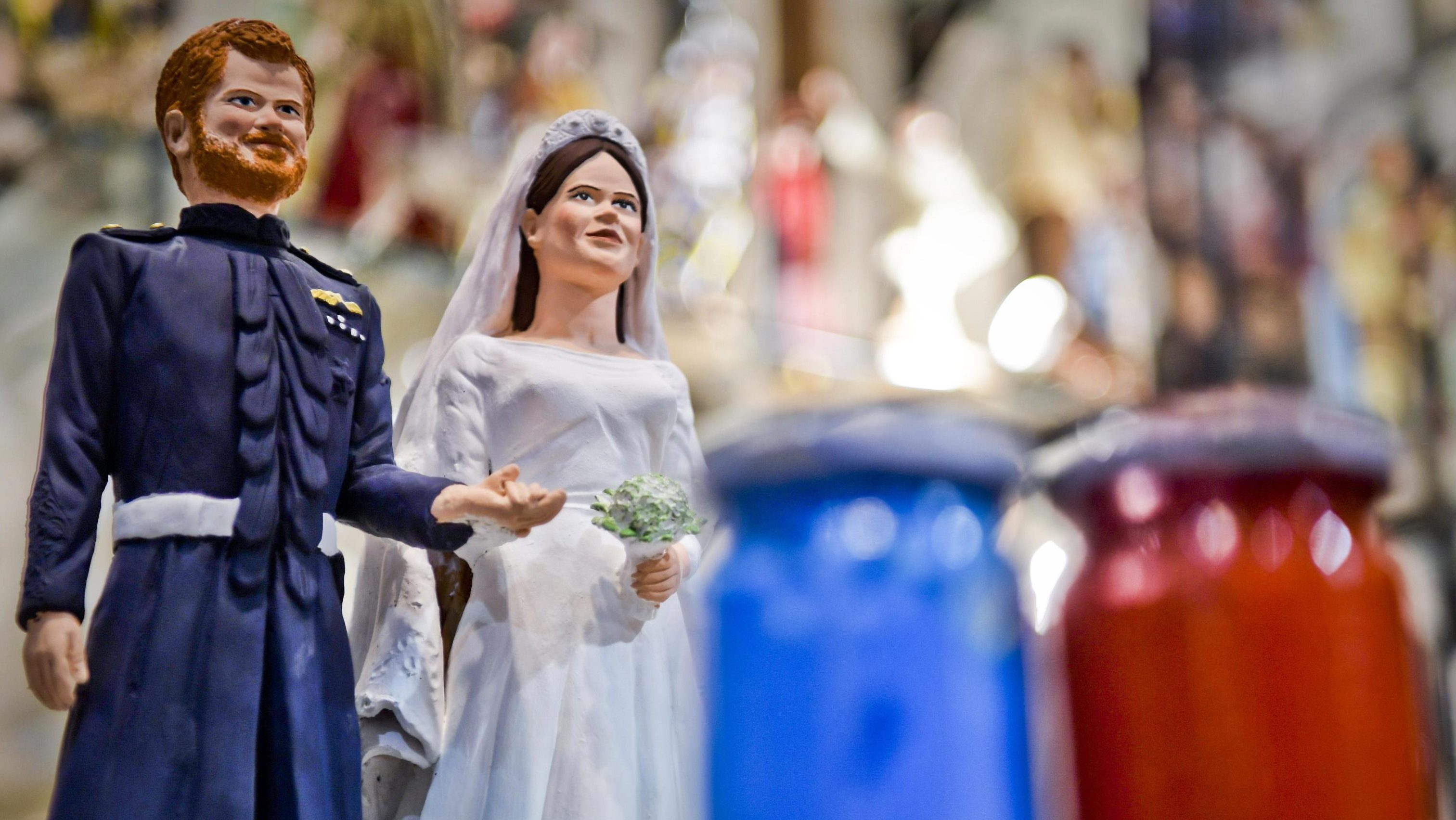 The figurines of Britain's Prince Harry and Meghan Markle