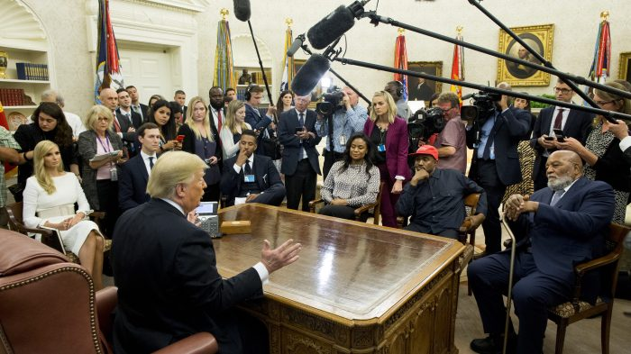 US President Donald J. Trump meets with US entertainer Kanye West and retired football player Jim Brown