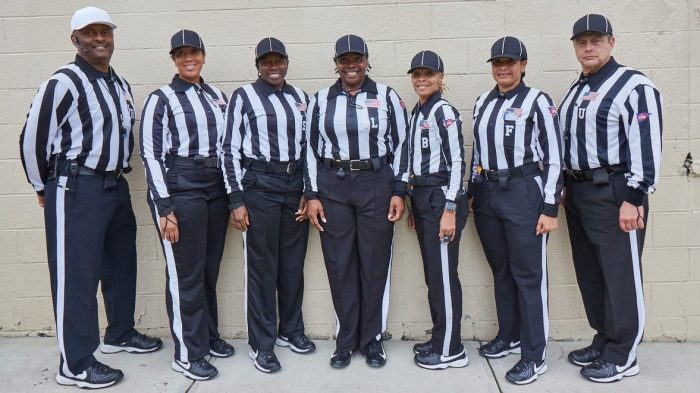 CIAA 2018 Football Season – All-Female Officials Team – 10.27.18 Game (l-r) Elbert Lassiter, Sharlanda Demingo, Ruth Onyekwelu, Christina Thurman, Joysha Gay, Bobbie Torain