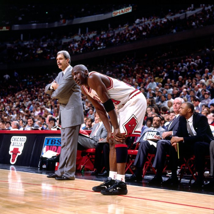 67650070baaa04 Michael Jordan wearing Penny Hardaway s Nike Air Flight Ones during Game 3  of the 1995 Eastern Conference semifinals. The game marked the first and  only ...
