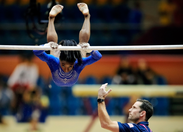 3a6f45631f6 Biles was accompanied by her coach Laurent Landi during qualifying sessions  for the Gymnastics World Championships at the Aspire Dome in Doha