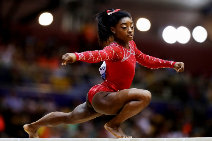 58569ab41f7 Biles competed in the balance beam during Day 10 of the 2018 FIG Artistic  Gymnastics Championships at Aspire Dome on Nov. 3