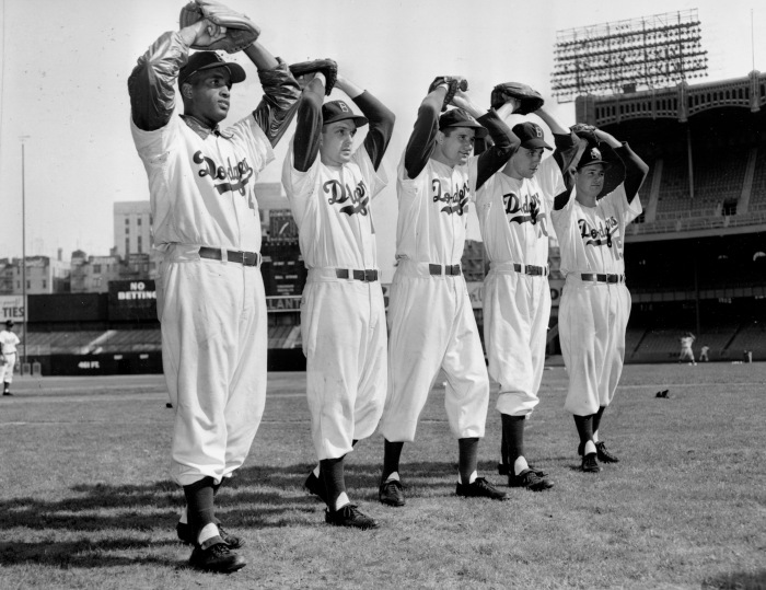 The Brooklyn Dodgers moundsmen line up for the upcoming World Series during  a warm-up at Yankee Stadium b53427f597d2