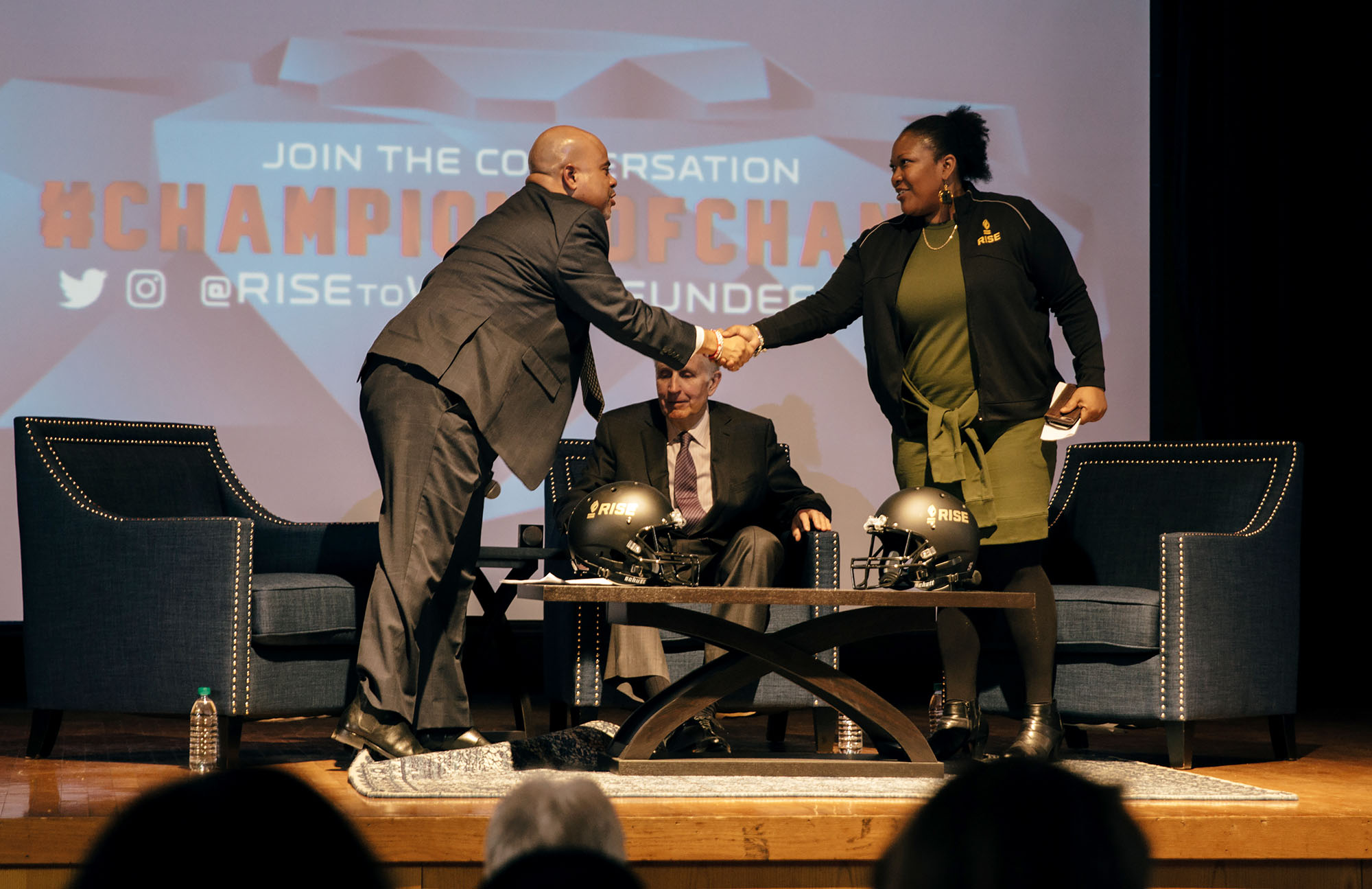 f03553a1f6f Moderator Jason Reid shakes hands with RISE CEO Diahann Billings-Burford  during the RISE 4th Annual Super Bowl Town Hall on Jan. 31 in Atlanta.