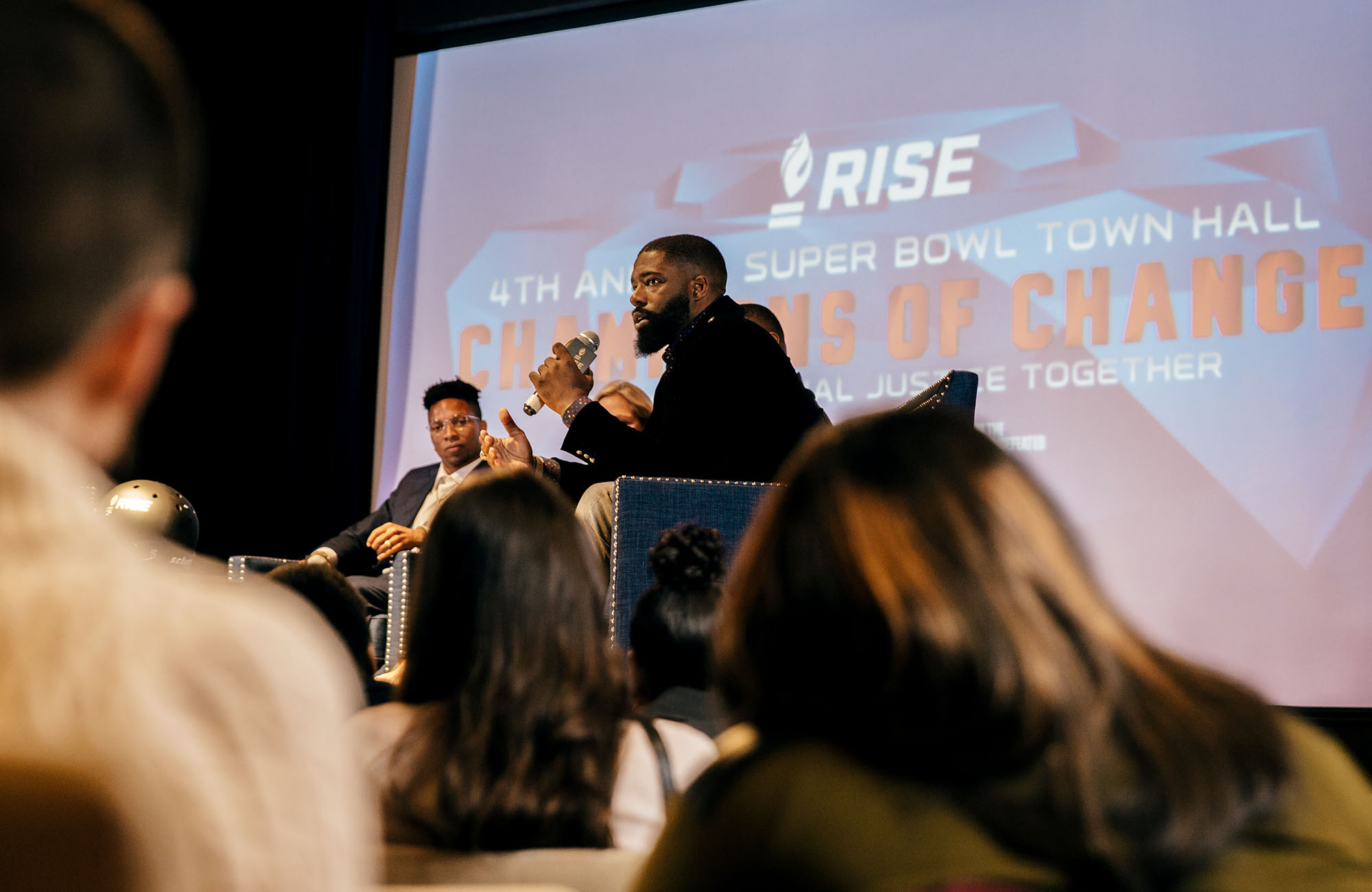 00d83fbcdea Former NFL player Brian Banks speaks during the RISE 4th Annual Super Bowl  Town Hall on Jan. 31 in Atlanta.