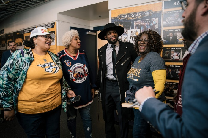 a8b8457d Renee Hess, Lisa Ramos and Eunice Artis, of the Black Girls Hockey Club,  gather around P.K. Subban, a defenseman for the Nashville Predators, during  a meet ...