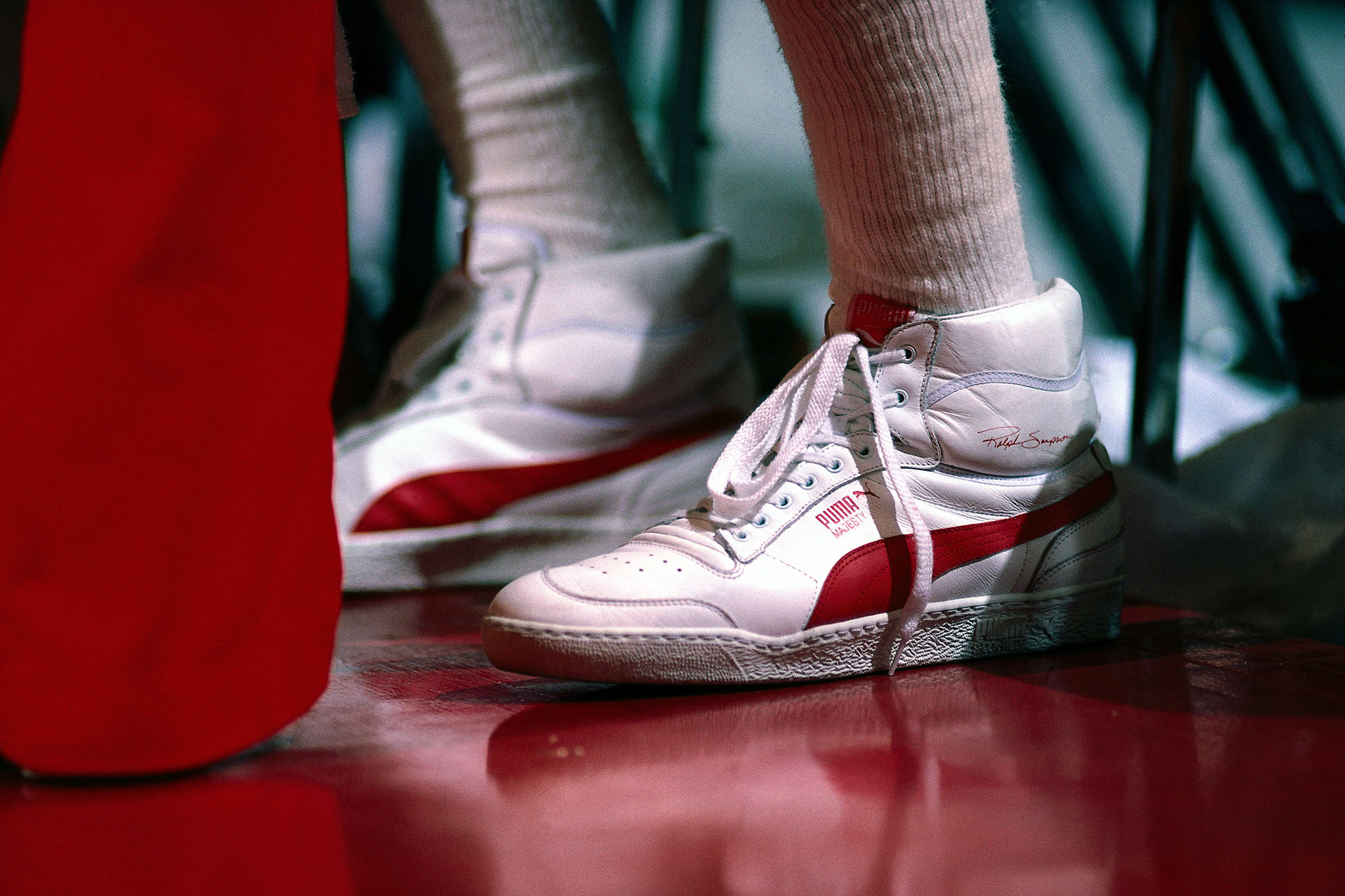 best sneakers 3b5da 9f81c 1985  A closeup of the Houston Rockets Ralph Sampson s sneakers during the  NBA game in Houston, Texas. (Photo by Andrew D. Bernstein NBAE Getty Images)
