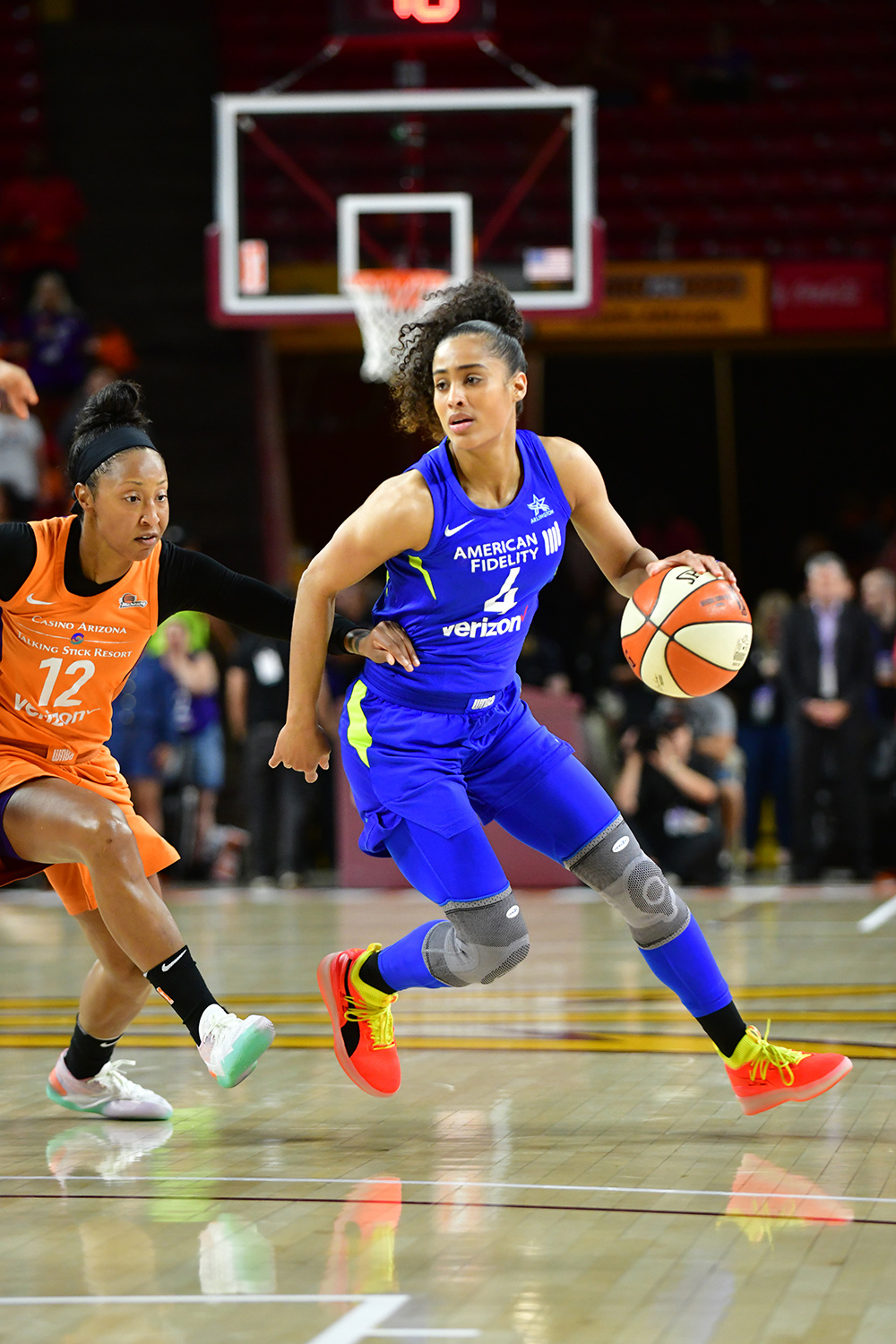 new product 3b1d3 8636a Dallas Wings point guard Skylar Diggins-Smith playing in the Puma Clyde  Court Disrupt against the Phoenix Mercury during the first round of the  2018 WNBA ...