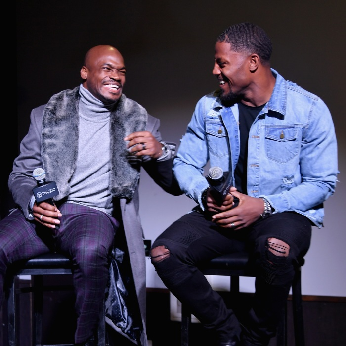 7acba4bd6b91 Adrian Peterson (left) and David Johnson speak onstage at The Thuzio Party  During Super Bowl Weekend at SweetWater Brewery on Feb. 1