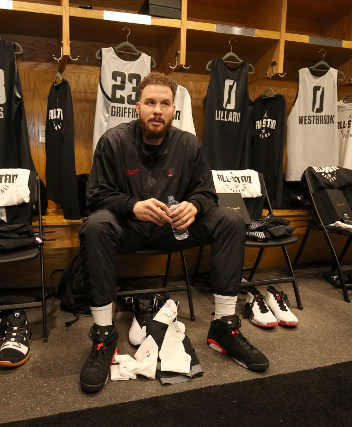 429b3e6d0493 Blake Griffin of Team Giannis sits at his locker during the 2019 NBA All-Star  practice and media availability Saturday at Bojangles  Coliseum in  Charlotte
