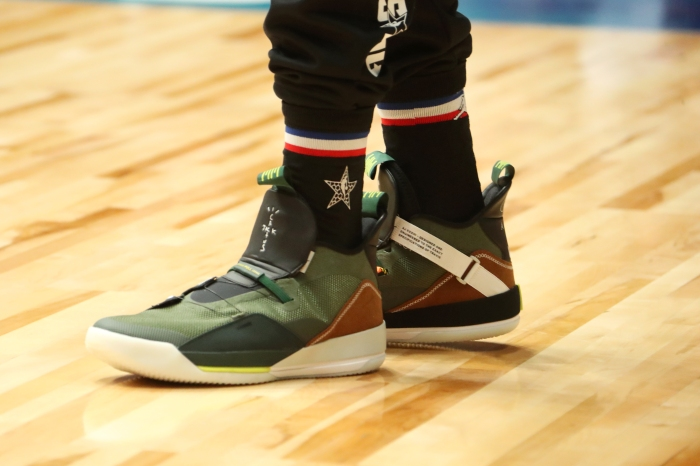 innovative design 3ea09 74e6c LaMarcus Aldridge wears his shoes during Saturday s 2019 NBA All-Star  practice and media availability. Nathaniel S. Butler NBAE via Getty Images