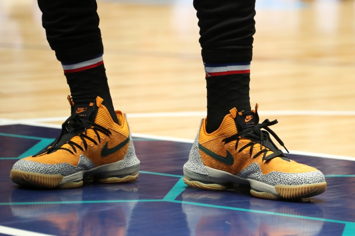 be15732e55cf Sneakers worn by LeBron James during the 2019 NBA All-Star practice and  media availability at Bojangles  Coliseum. Nathaniel S. Butler NBAE via  Getty Images
