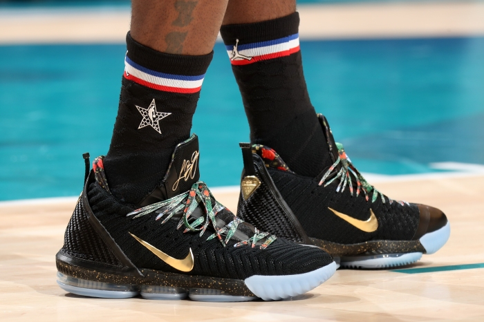 9fe6a8d1f9db The sneakers on the feet of LeBron James during the 2019 NBA All-Star Game  at the Spectrum Center in Charlotte