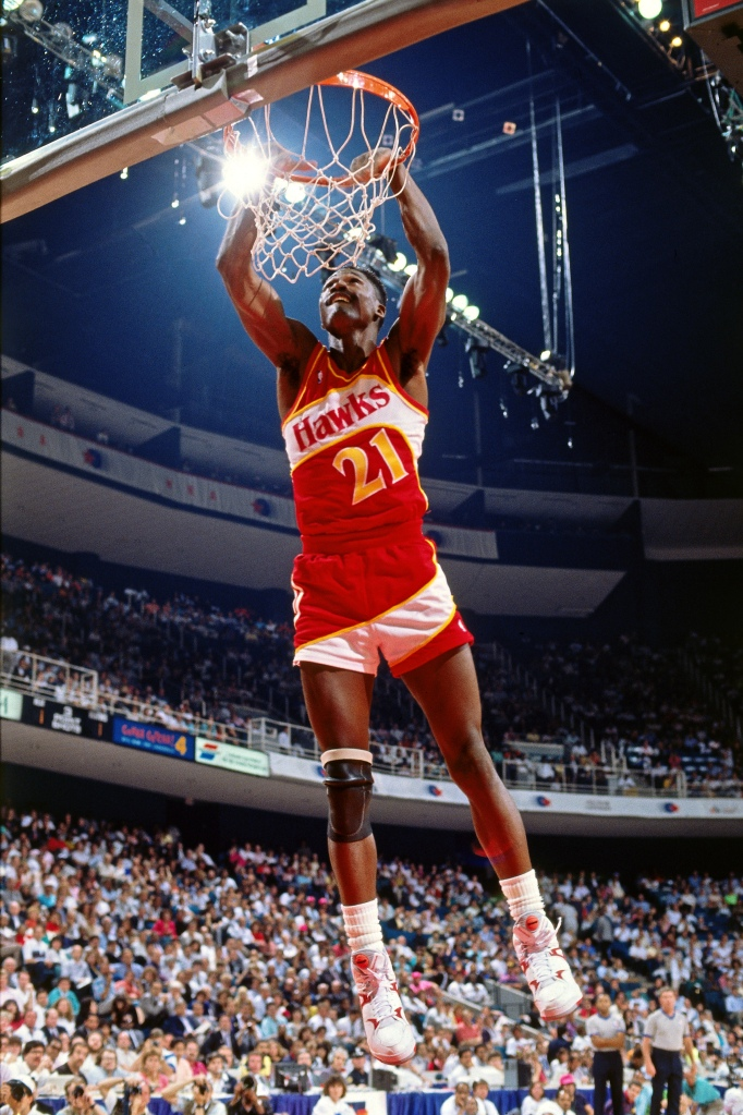 Dominique Wilkins of the Atlanta Hawks dunks during the 1990 NBA All-Star  Slam Dunk Contest on Feb. 10 722698c88