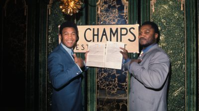 Joe Frazier and Jimmy Ellis with Poster