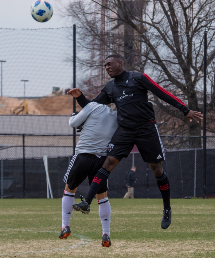 c2476517cc4a Odoi-Atsem heads the ball during a scrimmage at Maryland in 2018. He will  miss D.C. United's 2019 season opener as he recovers from Hodgkin lymphoma.
