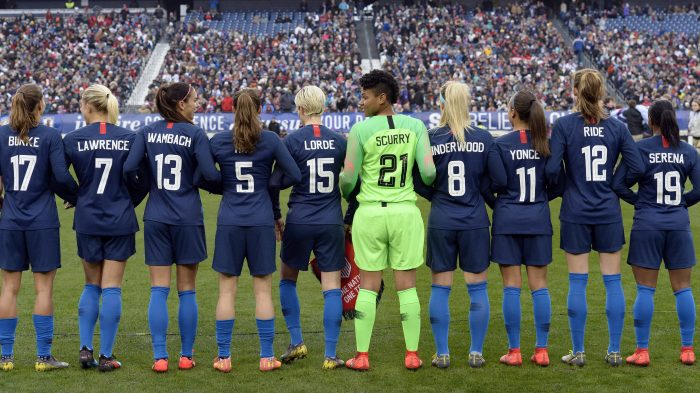 c0a0df20a26 U.S. women s national soccer team members stand arm-in-arm on the pitch  wearing jerseys bearing the names of women who inspire them before playing  England ...