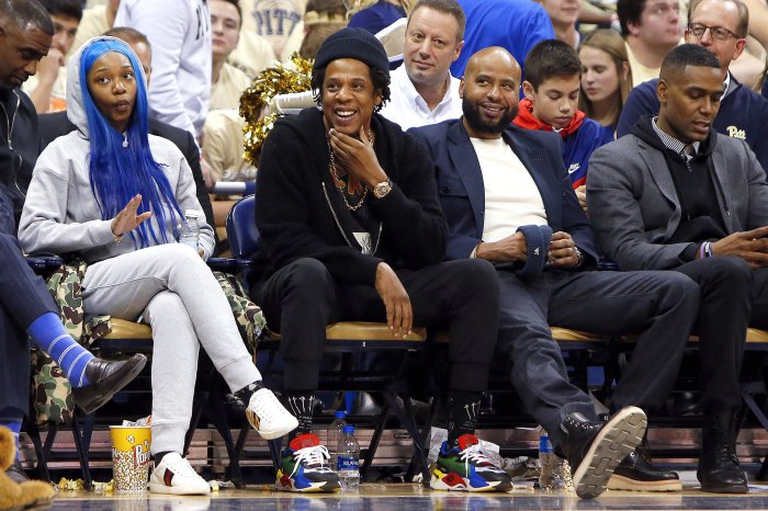 764d929387f Jay-Z laughs during the game between the Pittsburgh Panthers and the Duke  Blue Devils at Petersen Events Center on January 22