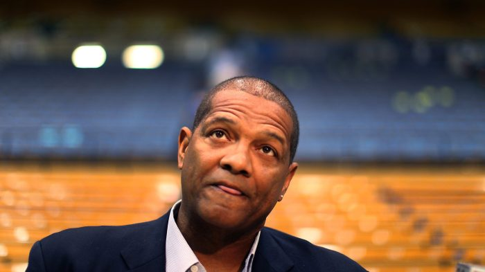 Marques Johnson recalls memories of John Wooden while talking with media at Pauley Pavillion Saturd