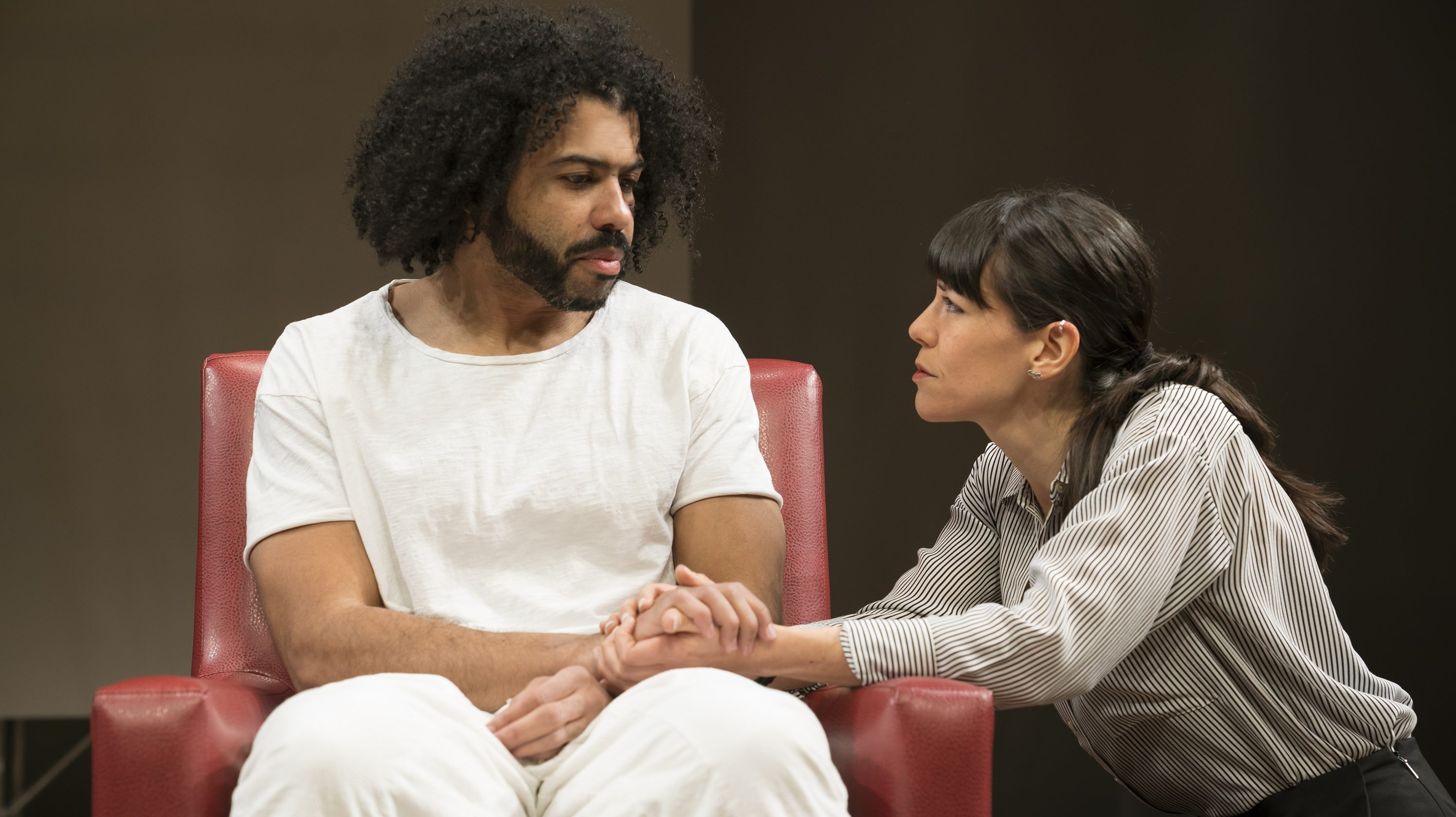 433dd5f69fac3 Daveed Diggs (left) as Leo is comforted by Zoë Winters (right) as his  girlfriend Dawn in a scene from White Noise.